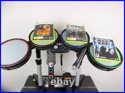 Boxed Xbox 360 Guitar Hero Rock Band Bundle Drum + Guitar + Mic + 3x Games