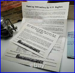 ED Miles 5cc'Special' MKII vintage diesel model aircraft engine in box & letter