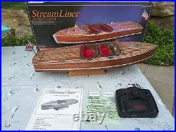 Vintage Kyosho Stream Liner Rc Boat with Controller, Stand Orig. Box & Paper work